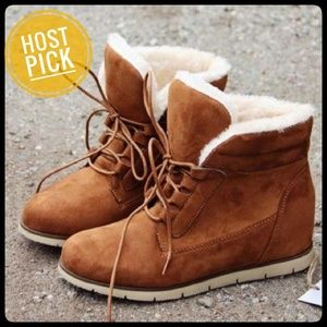 🎉HP🎉 Booties, Cozy Camal, Brand New, Size 7
